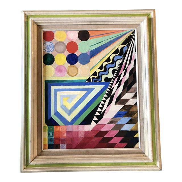 Vintage Original Abstract Geometric Modernist Painting 1970's For Sale