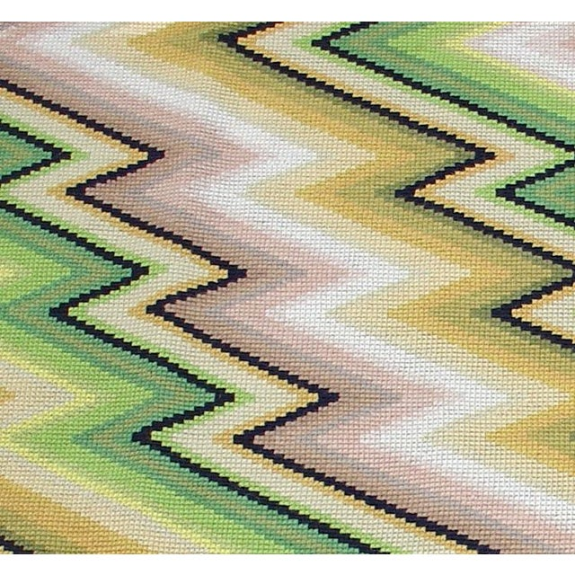 Boho Chic Modernist Portuguese Needlepoint Rug or Wall Hanging - 3′10″ × 3′10″ For Sale - Image 3 of 3