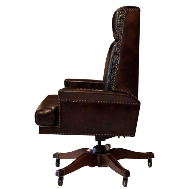 Traditional Executive Leather Desk Chair by Baker Furniture For Sale - Image 3 of 9