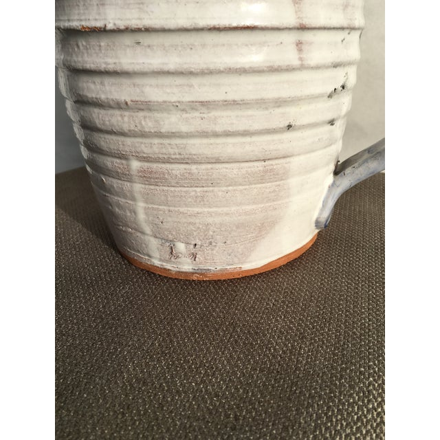 White Folk Art White Pottery Pitcher For Sale - Image 8 of 10