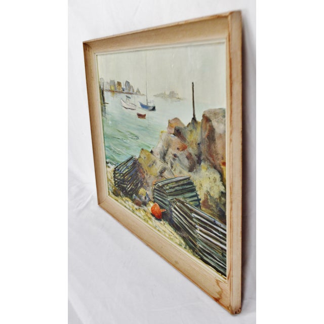 Vintage Framed Original Nautical Oil on Canvas Painting Lobster Traps - Artist Signed Condition consistent with age and...