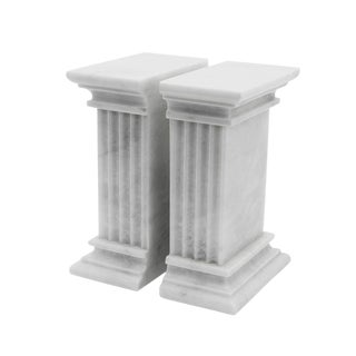 White Marble Bookends - a Pair For Sale