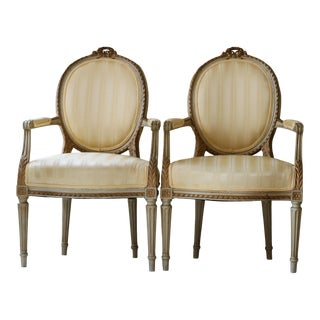 18th Century Louis XVI Style Fauteuil Gold Foiled Chairs - a Pair For Sale