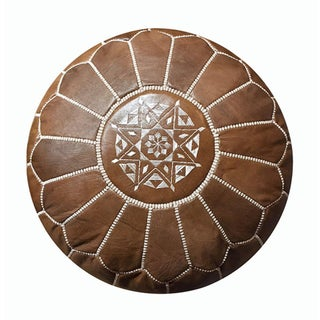 Moroccan Leather Brown Pouf by Mpw Plaza Preview