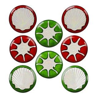 Vintage Porcelain Dessert Plates With Iridescent Seashell Design - Set of 8 For Sale