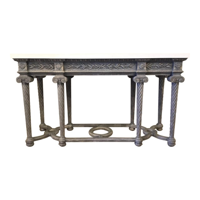 Henredon White Marble French Style Console Table For Sale