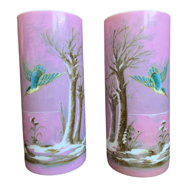 19th Century French Baccarat Opaline Pink & White Glass Vases - a Pair For Sale