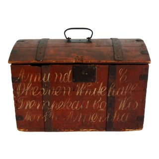 1850's Americana Hand Painted Trunk With Script For Sale
