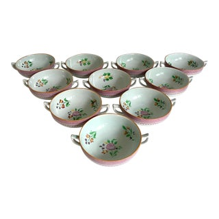 Early 20th Century CalyxWare Hand-Painted Bowls From England - Set of 10 For Sale