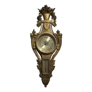 Late 18th Century Gilt and Carved Wood Barometer For Sale