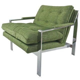 Green Upholstered Modern Lounge Chair For Sale