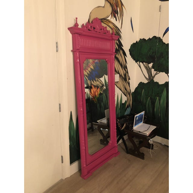 Pink Hot Pink Lacquered Hand-Carved Solid Mahogany Floor Mirror For Sale - Image 8 of 9