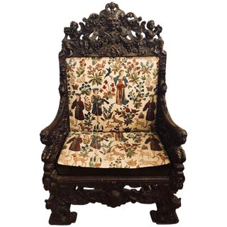 18th-19th Century Palatial Carved Throne or Armchair Manner of Horner Brothers For Sale