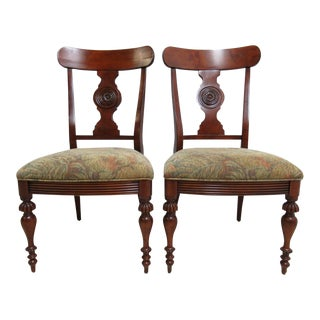 Ethan Allen British Classics Carved Dining Chairs - A Pair For Sale