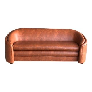 1970s Reupholstered Bourbon Faux Leather Sofa For Sale