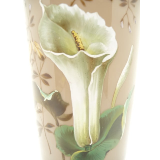 Art Nouveau Antique European Hand Painted Art Glass Vase Taupe W Calla Lily For Sale - Image 3 of 7