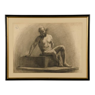 French Academy of Art Life Drawing c.1875 For Sale
