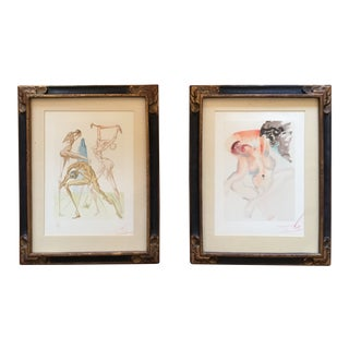 1960s Vintage Salvador Dali Woodcuts From the Divine Comedy - A Pair For Sale
