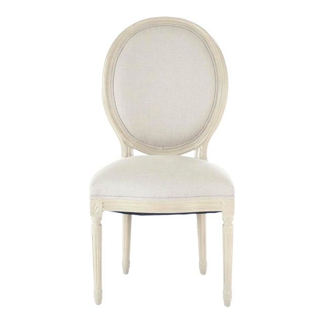 Everest Medallion Side Chair in Natural Linen For Sale