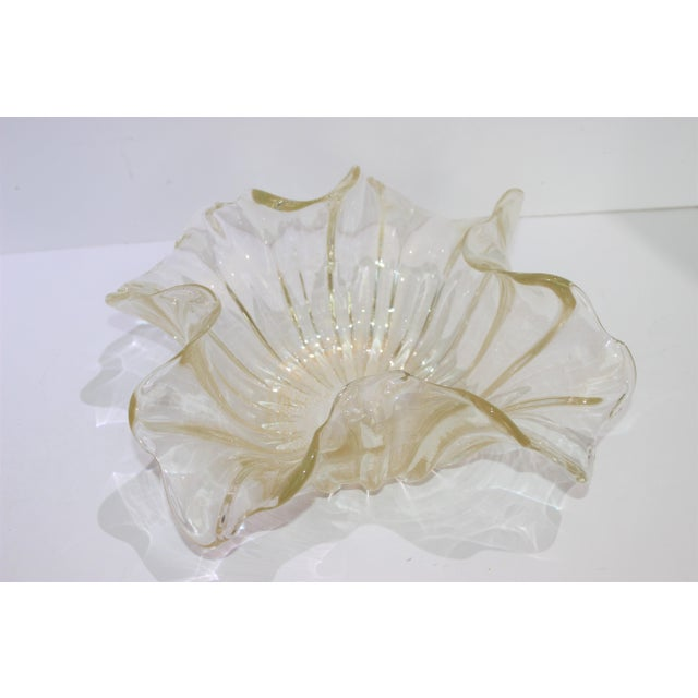 1960s Murano Glass Ribbon Free Form Vase Bowl Infused Gold Flecks by Barovier Et Toso For Sale - Image 5 of 9