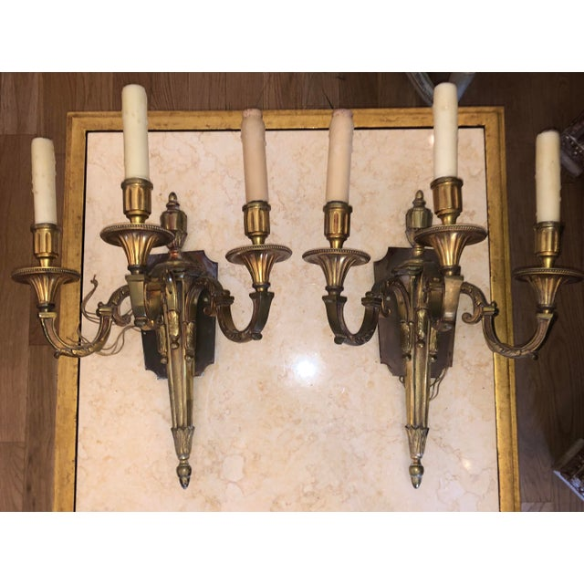 French Antique French Neoclassical Gilt Bronze Sconces - a Pair For Sale - Image 3 of 4