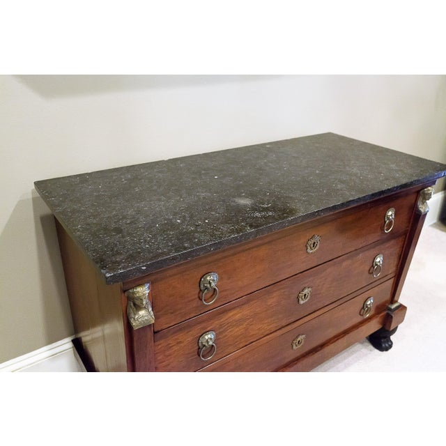 Louis Philippe Empire Style Stone Top Three-Drawer Commode, France Circa 1840 For Sale In Washington DC - Image 6 of 13