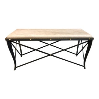Sunrise Home Metal + Travertine Top Console Table