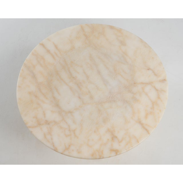 Alabaster Hollywood Regency Round Alabaster Coffee Table on a Drum Base For Sale - Image 8 of 13