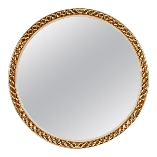 Mid 20th Century Circular Carved Gilt and Painted Mirror For Sale