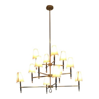Jonathan Adler Ventana 3 Tier Brass Chandelier For Sale