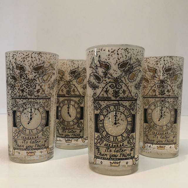 """Fabulous Mid Century Georges Briard """"It's Later Than You Think"""" 22k gold high ball Glasses. Frosted white glasses are..."""