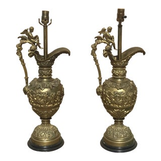 Bronze Urn Lamps - A Pair