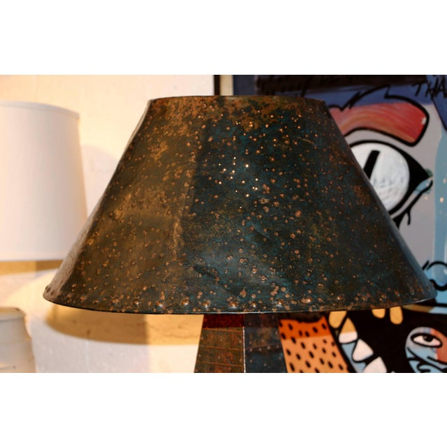 Copper Hand-Hammered Patchwork Copper Lamp and Shade For Sale - Image 8 of 10