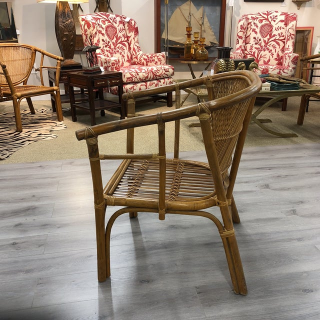 Beautiful in excellent condition bamboo reed wicker and split reed chairs with double caning on back
