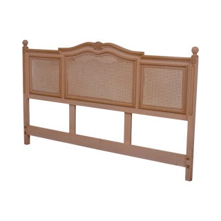 Vintage French Country Style Cream Painted Cane King Headboard For Sale