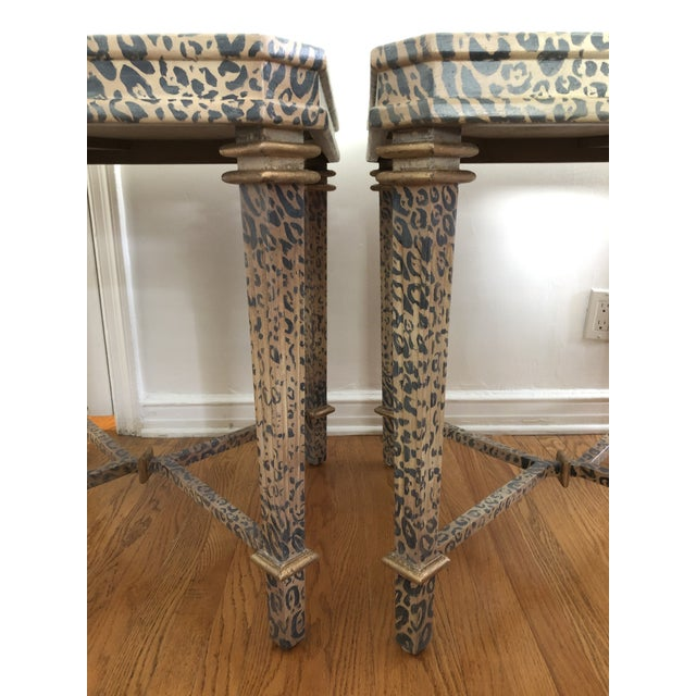 Neoclassical Hand Painted Faux Leopard Side Tables - a Pair For Sale - Image 4 of 10