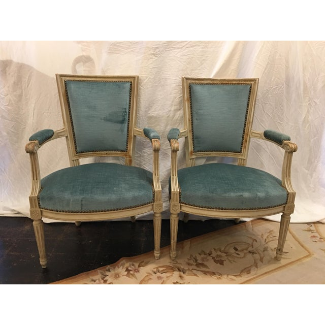 Louis XVI Styled Painted Armchairs in Blue Velvet - a Pair For Sale - Image 10 of 10