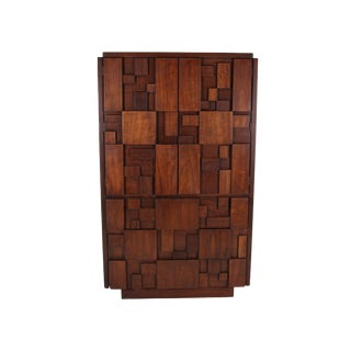 Mid Century Brutalist Armoire by Lane For Sale