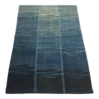 Organic Modern Patchwork Kilim in Cobalt | 2'6 X 3'10 For Sale