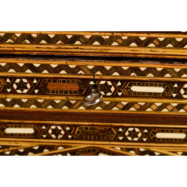 Beautiful Moroccan Inlaid Vintage Trunk Chest W/Geometric Design For Sale In Los Angeles - Image 6 of 10