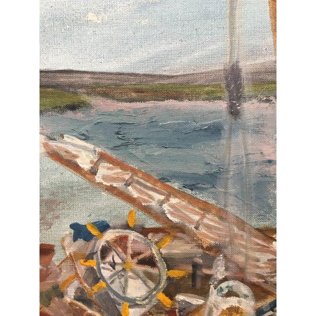 Blue Vintage Mid Century Impressionist Oil Painting Seascape For Sale - Image 8 of 11