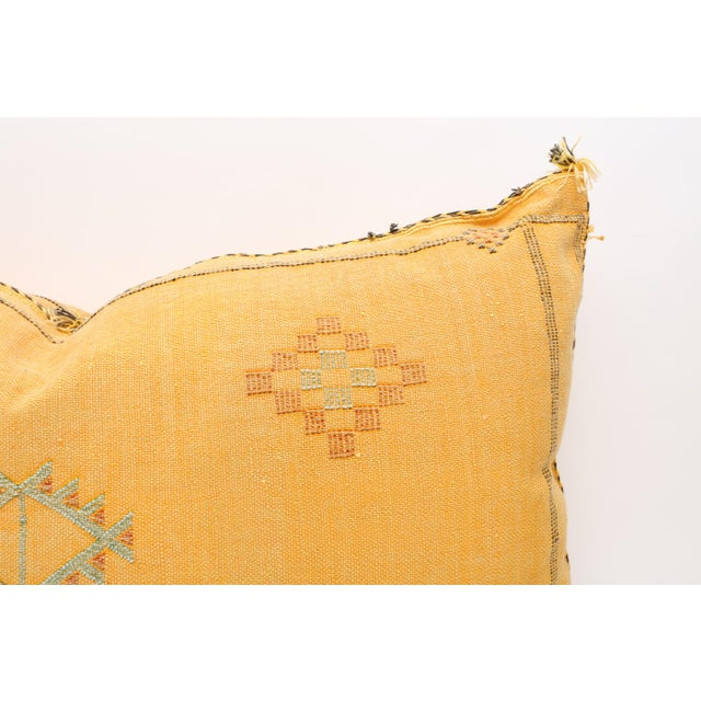 Boho Chic Moroccan Sabra Cactus Silk Lumbar Pillow Double Sided Cover For Sale - Image 3 of 5
