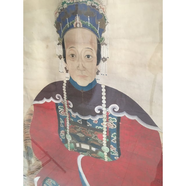 Early 20th Century Antique Chinese Ancestral Watercolor Portrait on Paper Painting For Sale - Image 9 of 11