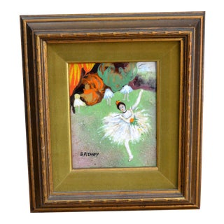 1960s Framed Realism Enamel Painting on Copper by B. Pitney Dancing Ballerina For Sale