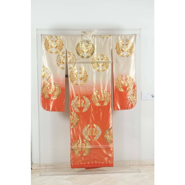 Japanese Ceremonial Kimono Framed in a Lucite Box For Sale - Image 10 of 10