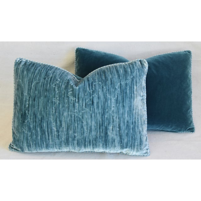 """Scalamandre & Clarence House Velvet Fabric Feather/Down Pillows 24"""" X 16"""" - Pair For Sale - Image 11 of 13"""