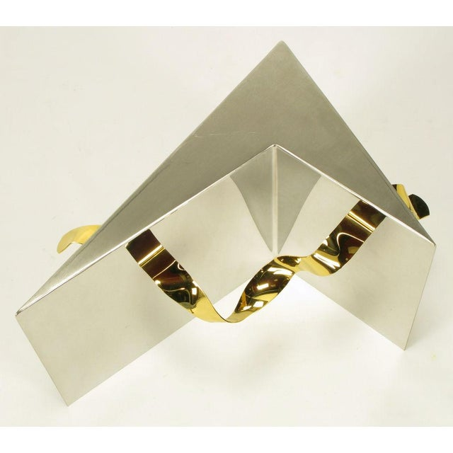 Custom Artisan Chrome, Brass, And Glass Coffee Table - Image 7 of 10