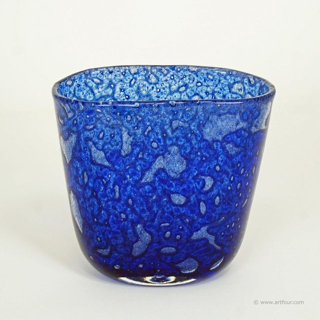 great blue vase from the 'efeso' series designed by ercole barovier in 1964 for barovier & toso, murano italy. engraved...