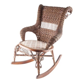 Antique Small Wicker Rocker with Cloth Seat For Sale