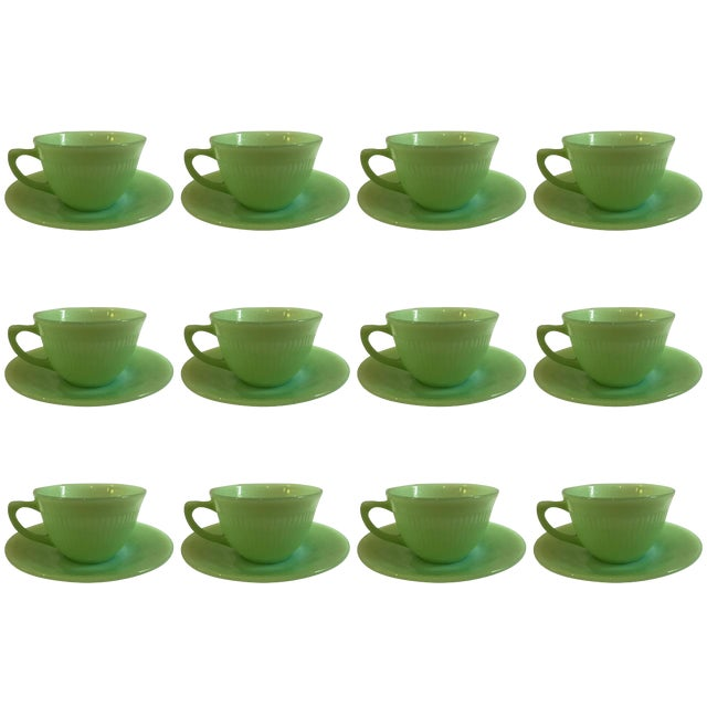 Jadeite Fire King Anchor Hocking Cup & Saucer Set - Image 1 of 9